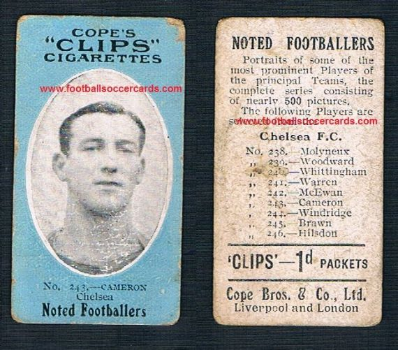 1909 Cope Brothers Noted Footballers 500 series Chelsea Cameron 243